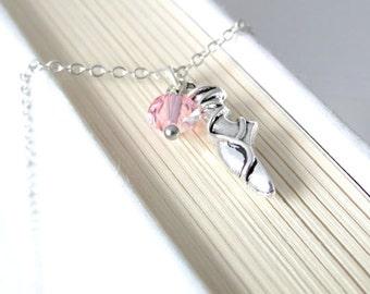 Silver Ballet Shoe Necklace.  Antique Silver Ballet Necklace. Silver Ballet Shoe. Ballet Dancer Necklace