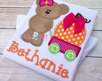 Girl Bear with Wagon & Pumpkin Custom boutique appliqued monogrammed personalized, boys, girls, t shirt, one piece w/snaps, Halloween, fall
