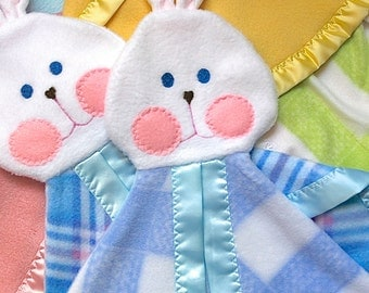 Replica Fisher Price Bunny blue plaid Lovey Security Blanket