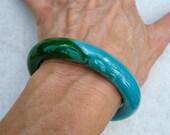 Vintage Lucite Bangle Bracelet Blue Green Marbled
