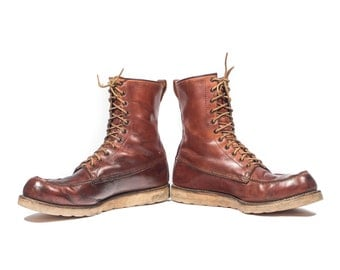 14 A | 1960's Vintage Red Wing Irish Setter Work Boots Moc Toe Lace Up Leather Boot