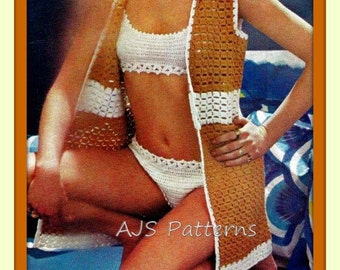 PDF Crochet Pattern For Ladies Retro Beach Wear - Three Piece Bikini and Cover Up Top Set