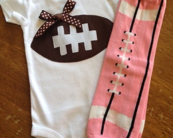 Two Piece Girl Football Outfit Any Size Newborn to 24 months or shirt 2t, 4t, or 6T