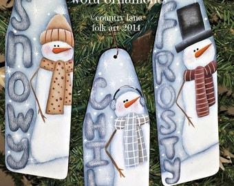 EPATTERN, #0033 Snowman word ornaments, digital download, painting pattern, snowman pattern, ornament pattern, wood pattern