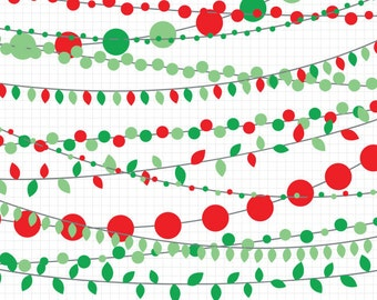 80% OFF SALE Red and Green String Light Clipart, Christmas Light Clipart, Instant Download, Holiday Clip Art