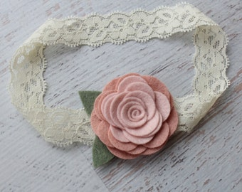 Two Toned Vintage Pink Wool Felt Rose Lace Headband - Newborn Baby to Adult