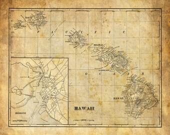 Hawaii Map Vintage Print Poster Grunge