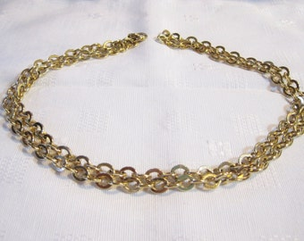 Vintage Monet Necklace 30 Inch Flat Cable Link - Signed