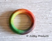 Rainbow Baby Natural Wooden Teether Teething Ring for Your Natural Baby - Tie Dye Hippie Chic