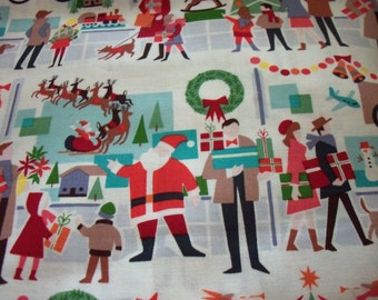 Merry Mid Town Fabric Christmas Window Shopping Rare  By The Fat Quarter New BTFQ