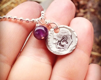 Hand stamped March of Dimes necklace