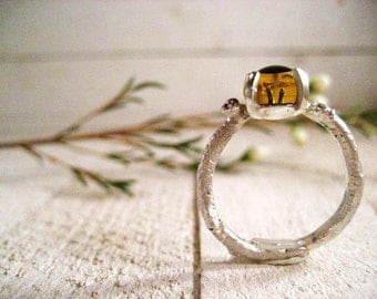 Silver Twig and Bear Eye Ring