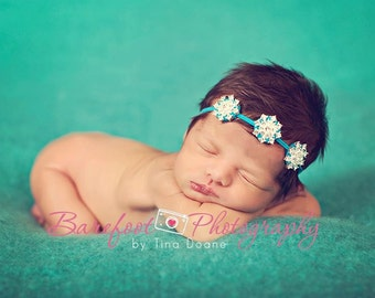 BEJEWELED Headband..Turquoise Baby Headband..Newborn Baby Girl Photo Prop..Teal Headband..Baby Girl Rhinestone Headband..Infant Headband