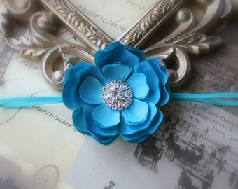 Baby Turquoise Headband..Newborn Baby Girl Turquoise Flower Headband with Rhinestones..Infant Girl Turquoise Flower Headband