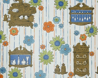 Retro Wallpaper by the Yard 70s Vintage Wallpaper - 1970s Kitchen Wallpaper Orange Green and Blue Daisy Flowers and Brown Stoves Cabinets