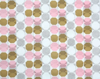 Retro Wallpaper by the Yard 70s Vintage Wallpaper - 1970s Vinyl Pink Brown and White Geometric