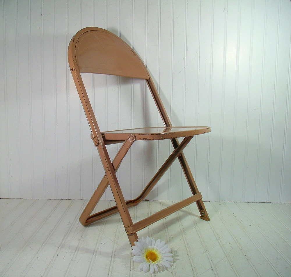 vintage child size metal folding chair retro furniture from