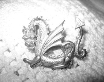 Vintage Sterling Dragon Pin Brooch Signed From the 30s