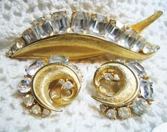 Vintage Designer Signed BSK Large Rhinestone Brooch & Earrings