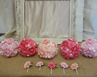 Pink Paper Flower Wedding Package - Made to Order Paper Rose Peony Daisy