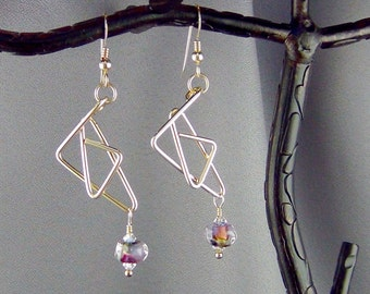 """Wire Wrapped, Lampwork Glass Seed Beads, Swarovski Crystals, 14k Gold Filled - 2 1/2"""" - Earrings - Hand Crafted Artisan Jewelry"""