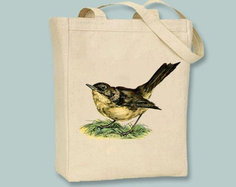 Beautiful Vintage Nightingale Bird on Canvas Tote  - Selection of sizes available