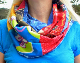 Hawaiian Fabric Patchwork Infinity Scarf - Multi-color