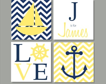 Nautical, Sailboat, Children's Wall Art, Nursery Wall Art, Children's Canvas- Set of four stretched canvas Customizable