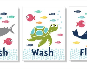 Shark, Whale and Fish Bathroom Wall Art, Typography, Bathroom decor- Set of three prints