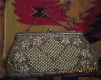 Vintage Beautiful Silver and Faux Pearl Beaded Evening Purse....50's era... Wedding/Hoiday/Special Occasion