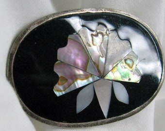 Vintage Stunning Alpaca Silver  Mexican Brooch  Black Enamel with Abalone or Paua Shell Lotus Flower  Pin or Pendant