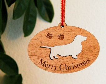 Longhaired Dachshund, Dachshund, Doxie, Sausage Dog,  Wood Pet Ornament