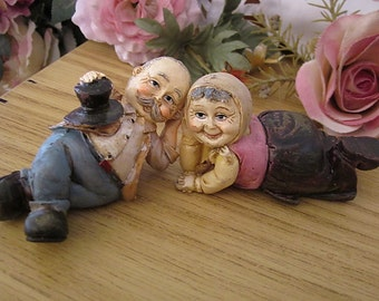 Vintage Figurine Couple Pair / Topper Farmers Provincial Country Folk - #2