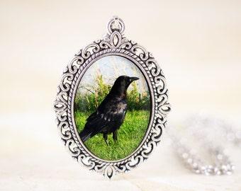 Black Crow Necklace - Raven Pendant Jewelry, Gothic Crow Pendant, Raven Crow Jewelry, Silver Bird Necklace, Crow Bird Jewelry CLEARANCE