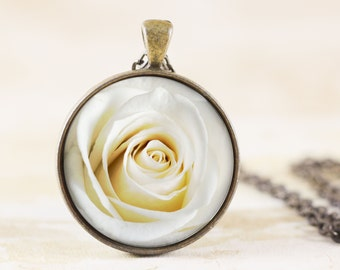 White Rose Necklace - Original Rose Photography Jewelry, White Flower Necklace, White Rose Jewelry Pendant, Spring Flower Jewelry