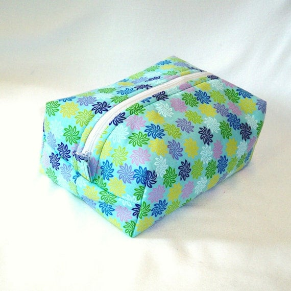 Floral Makeup Bag Boxy Bag Cosmetic Bag Zipper Pouch