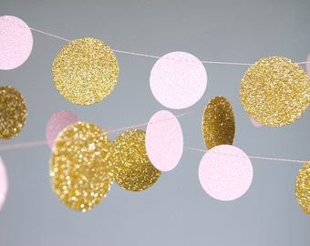 Garland, Glitter Paper Garland, Gold and Pink, Gold  Blush, Bridal Shower, Baby Shower, Birthday Decor, Pink Gold Birthday, Pink Gold Party