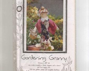 "Doll Pattern, ""Gardening Granny,""  On the Edge Designs,  18"" Cloth Doll."