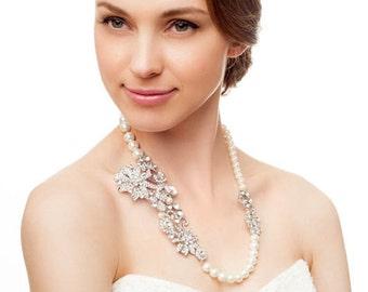 Vintage style bridal handmade necklace. Handmade bridal pearls necklace. Bridal pearls choker. Vintage bridal jewelry