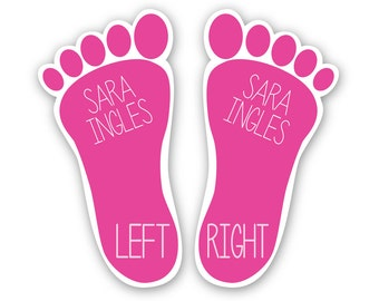 Shoe Labels - Teach Children Left & Right with Personalized Shoe Stickers - 6 Sets Shoe Tags in the Shape of Feet