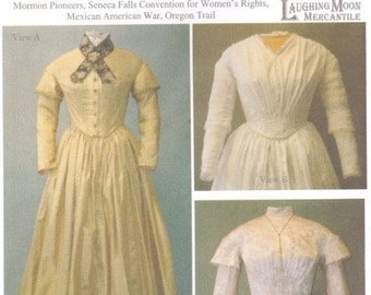 LM114 - Laughing Moon #114, 1840s-1852 Ladies Round Dress Sewing Pattern
