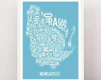 Newcastle - Suburban Type Print (Ocean Blue)