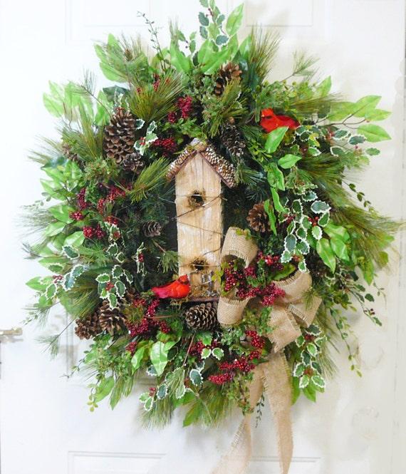 xxl christmas door wreath outdoor holiday wreath w birdhouse and
