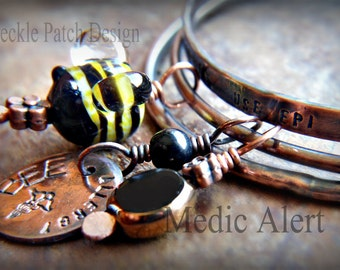 Medic Alert Bangle Bracelet Set in Antiqued Copper with Handmade Glass Bead , Sample Photo,  Custom Made to Order   Price is Approx.