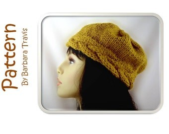 Knitting Pattern Braid Cable Band Beret H1010 Beanie Pill Box Hat