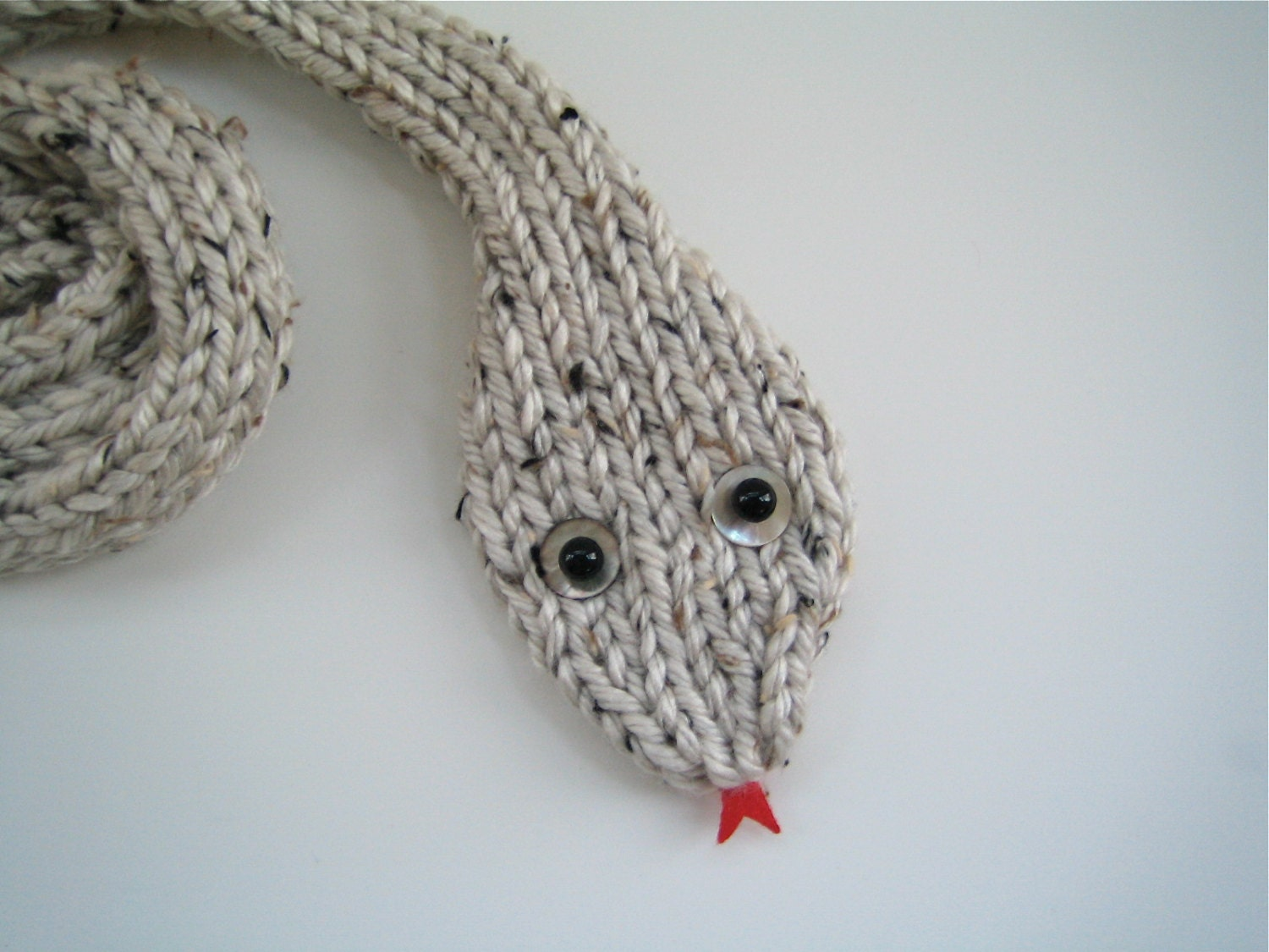 Knitting Pattern For Snake Scarf : Handknit Knit SNAKE Scarf in chunky off-white yarn