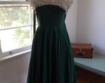 Ruffle Bust Green Cotton Sundress with Matching Bolero Top 26 waist  Small