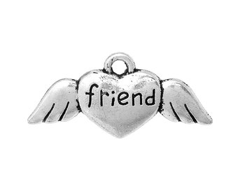 10 Silver Metal Stamped Word FRIEND Heart with Wings, Tag Charm Pendants chs0474