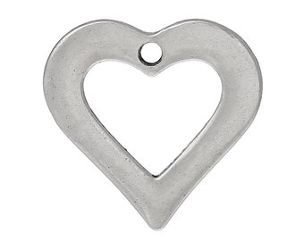 6 Silver Tone Open HEART Charm Pendants, 23x23mm chs1053
