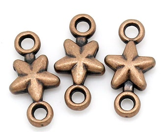 15 Small Antique Copper STAR Connector Links, 15x7mm  chc0022